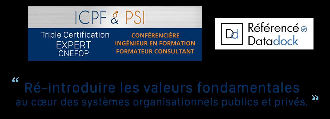 ICPF & &PSI Conférencère, Ingénieur en formation, Formateur consultant, Référencé Datadock